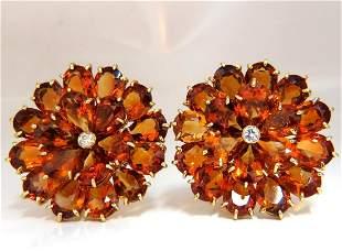 100.36ct Natural Golden Citrine Cluster Diamond Earring
