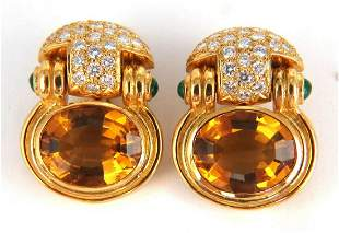 22.50ct Natural Yellow Citrine Diamonds Dangle Earrings