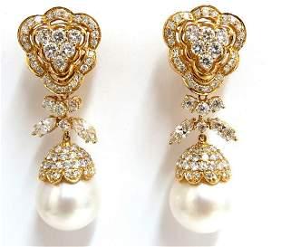 15.6mm Natural South Sea Pearls 7.50ct Diamonds Dangle