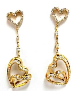 3.00ct Natural Diamonds Hearts on Hearts Dangle Earring