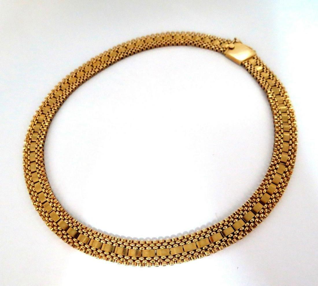 7 Tier Curbed Band Link Gold Necklace 14 Karat Vintage