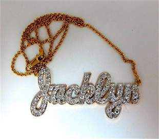 1.50ct natural diamonds Jacklyn Name plate necklace 14k