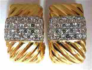 4.2Ct Natural Diamonds Candy Cane Twist Clip Earrings