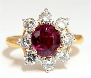 GIA Certified 3.20ct No Heat Natural Ruby Diamonds ring