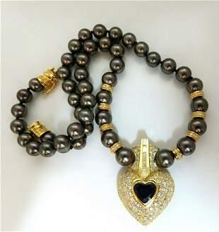 10.75ct Natural Heart Blue Sapphire Diamonds Tahitian