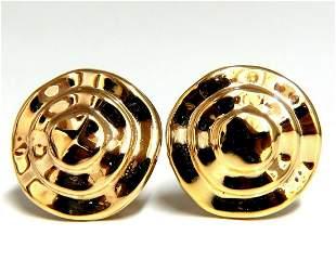 Gold Raised Pyramid Dune Shabby Chic Clip Earrings 14 K