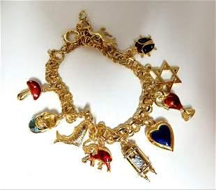 Assorted Charms Bracelet 14 karat