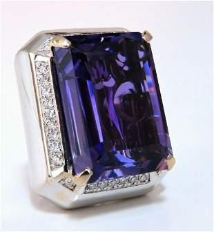 37.23Ct Natural Amethyst Diamond Ring 18 Karat Cocktail