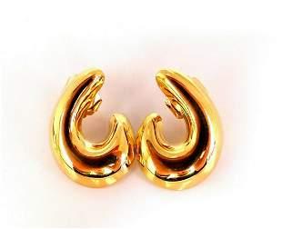 Semi Swirl Gold Domed Earrings 18 Karat
