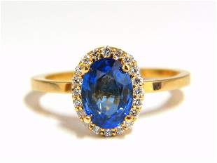 2.18ct natural vivid blue sapphire diamonds ring 18kt p