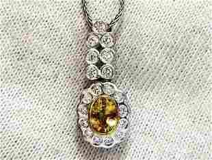 1.19ct Natural Yellow Sapphire Diamonds Dangle Pendant
