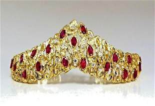6.00ct Natural Ruby Diamond Coral Patina Chevron Cuff