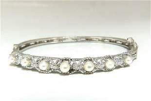 6mm Natural Akoya Pearls Bangle Bracelet 14 Karat Rope