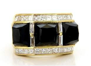 2.00ct Natural Jet Black Onyx Diamonds Ring 18 Karat