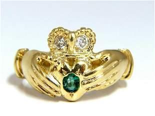 Irish Claddagh Natural Diamonds Emeralds Ring 14 Karat