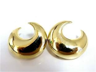 Islam Arab Domed Crescent Left Right Lobe Earrings 18 K