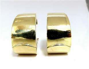 Vintage High Shine Wide Hoop Earrings 18 Karat Omega Cl