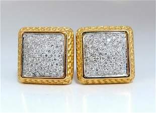 1.20ct Natural Diamonds Cluster Bead Clip Earrings 18 K