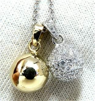 2.50ct Natural Diamonds Cluster Balls Double Dangle Nec