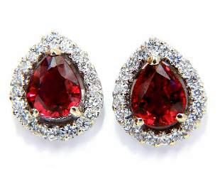 GIA Certified 1.19 & 1.28ct. Natural ruby diamond earri