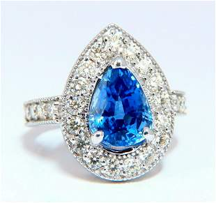 GIA Certified 3.73ct Natural Pear Sapphire Halo Cluster