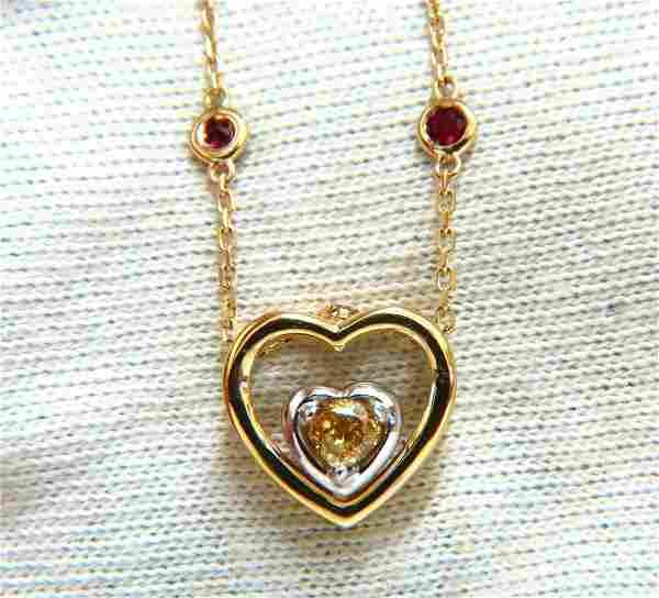 .34ct Natural Fancy color Heart Diamond Necklace 14 Kt