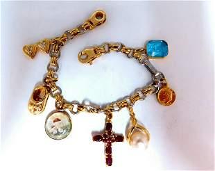 Assorted Charms Bracelet 14 karat Hearts Libra Cross Am