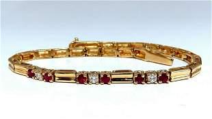 .80ct Natural Ruby .33ct Diamonds Vintage Bracelet 14 K