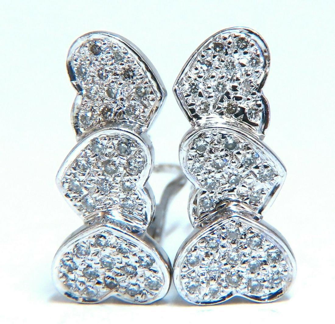 1.20ct Natural Diamonds Three Tier Heart Earrings 14 Kt