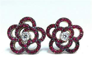1.58ct Natural Ruby Diamonds Cluster Clip Earrings 14 K