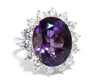 10ct Natural Vivid Purple Amethyst Diamonds Halo Cluste