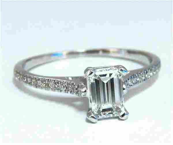 GIA Certified .54ct Emerald Cut diamond ring 18 Karat