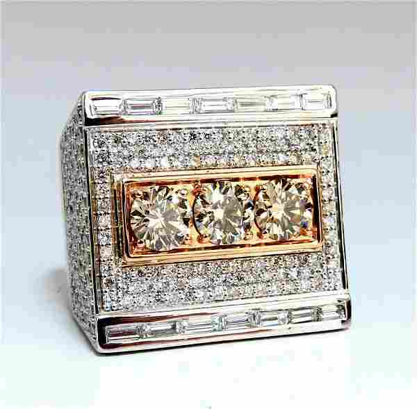 7.85ct Natural Fancy Yellow Green Diamonds Mens Ring 18
