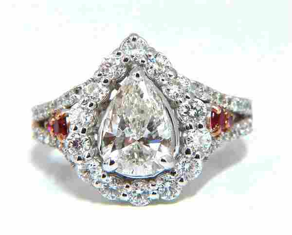 2.40ct Natural Pear Shaped Diamond Ruby Cocktail Halo