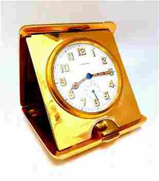 Authentic Gorham for Longines Travel Clock 14 Karat Fol