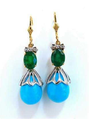 3.20ct Natural Emeralds Turquoise Diamonds Dangle Earri