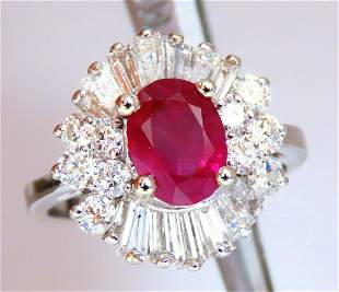 GIA Certified 3.18ct Natural Ruby Diamond Ring 14 Karat