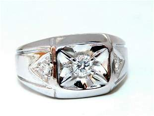 .35ct Natural Diamonds Mens Solitaire Accent Ring 14 Kt