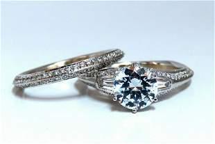 1.50ct Natural Zircon Diamonds Engagement Ring Suite We