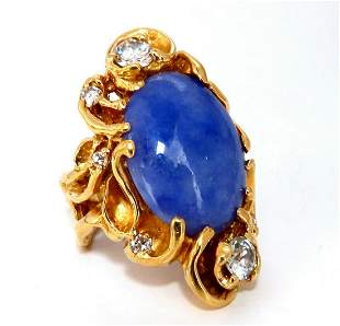 GIA Certified Natural Purple Jade Diamonds Ring 18 Kara