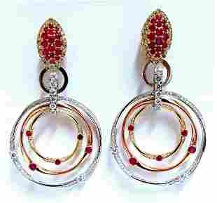 7.38ct Natural Ruby Diamond Dangle Chandelier Earrings