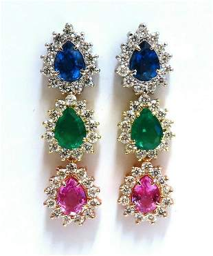13.24ct Natural Emeralds & Sapphires Three Tier Dangle