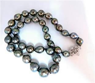 .20ct Diamonds Baroque Tahitian Pearls Necklace 14 kara