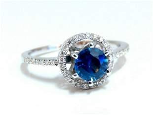 1.22ct Natural Blue Sapphire Halo Cluster Ring 14 Karat