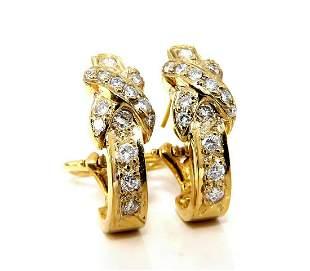 1.20ct natural round diamonds X hoop earrings 14 Karat