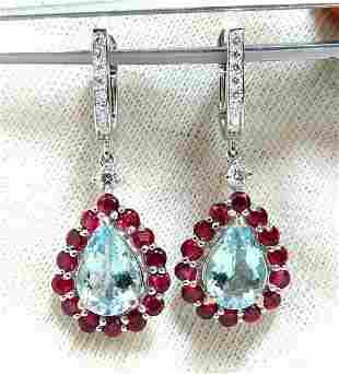 5.12ct Natural Aquamarines Ruby Diamond Dangle Earrings