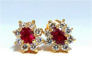 GIA Certified 2.24ct natural Ruby Diamonds Cluster Earr