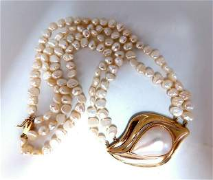 Mabe Pearl Fresh Water Double Stranded Bead Necklace