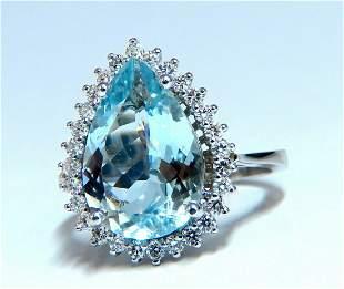4.36ct natural pear aqua blue aquamarine diamonds ring