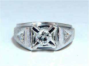 .85ct Natural Diamonds Mens Solitaire Accent Ring 14 Kt